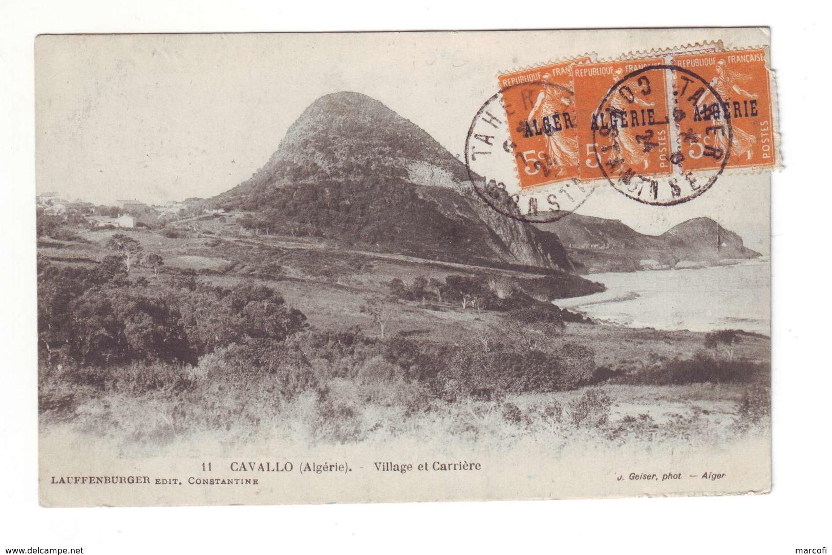 Alg26 5c Semeuse Surchargée (x3) Sur CP Obl Tarer (Algérie) 1924 - Algérie (1924-1962)