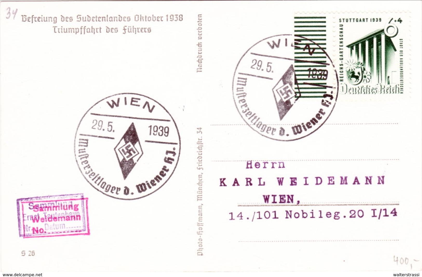 Propaganda Karte, Befreiung Des Sudetenlandes, Triumpffahrt Des Führers, So. Stempel Wien - Musterzeltlager Der HJ. - Weltkrieg 1939-45