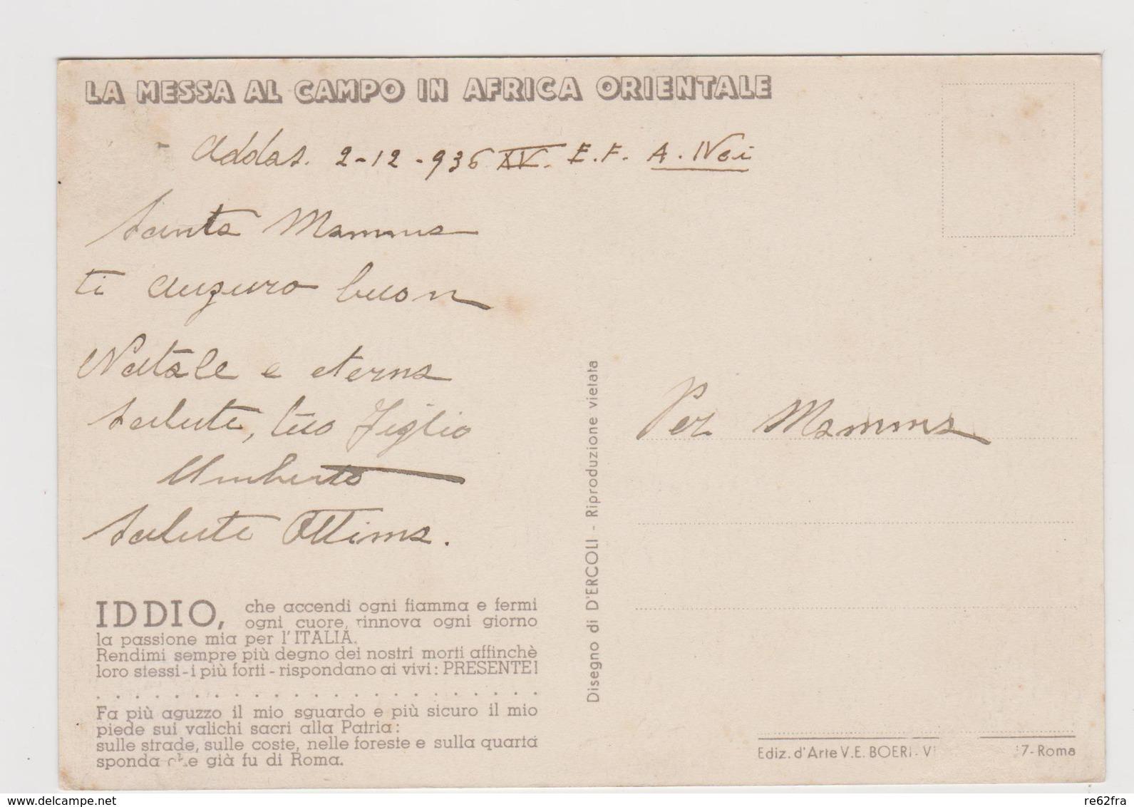 Africa Orientale , Messa Al Campo , Illustrata Da D'Ercoli - F.G. - Anni '1920/'1930 - Altre Guerre