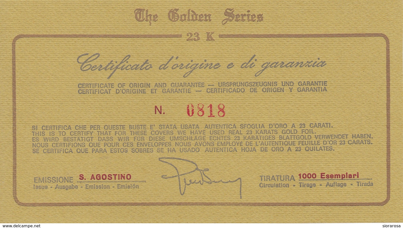Vaticano 1987 Uf. 802 Sant' Agostino Prime Die Golden Series Con Certificato - Theologians