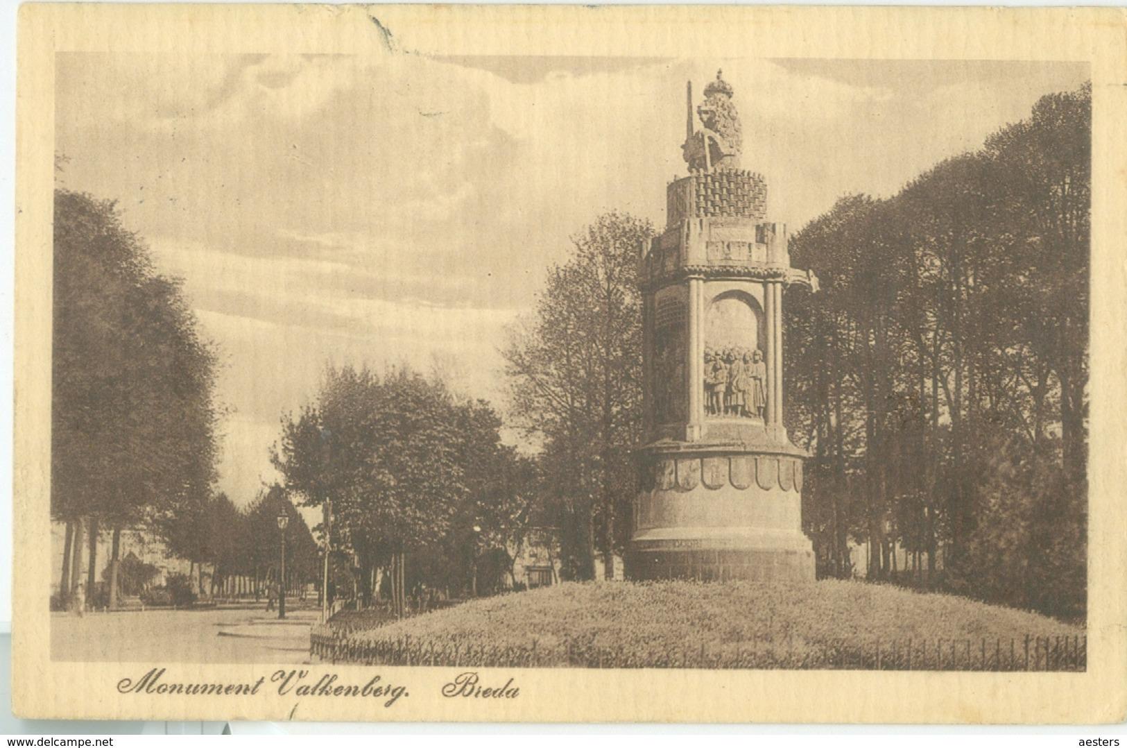 Breda 1915; Monument Valkenberg - Gelopen. (M.A. Frank  Rotterdam) - Breda