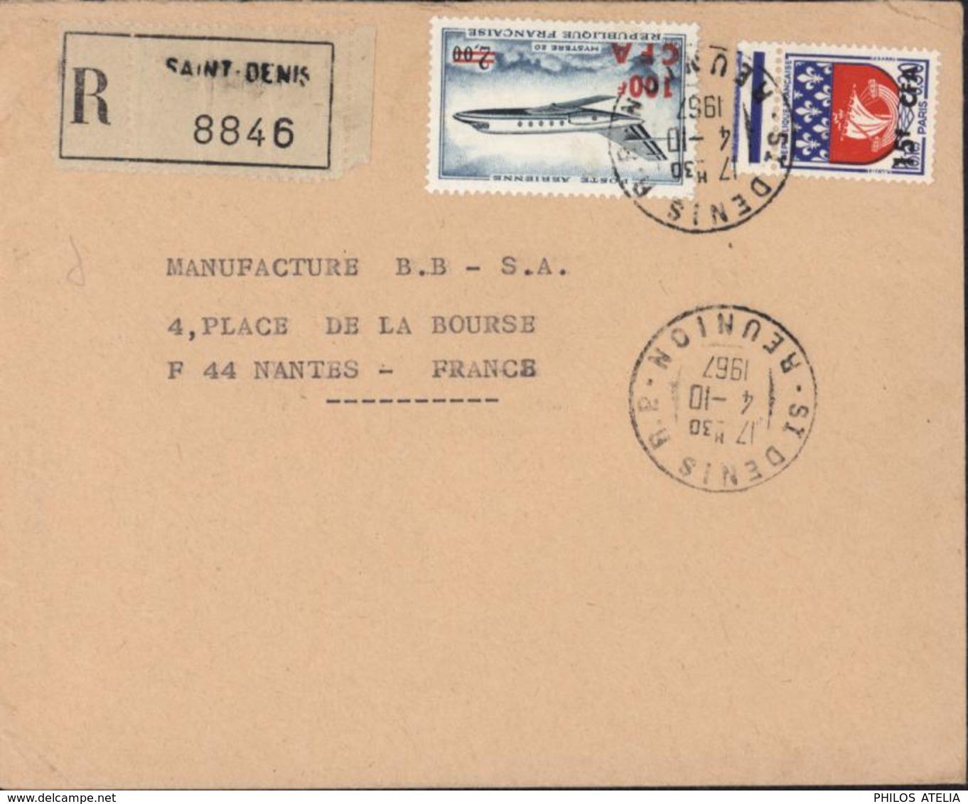 Recommandé Vignette + CAD St Denis RP Réunion 4 10 1967 YT Ae 61 + 350A Arrivée Nantes 7 10 67 - Covers & Documents