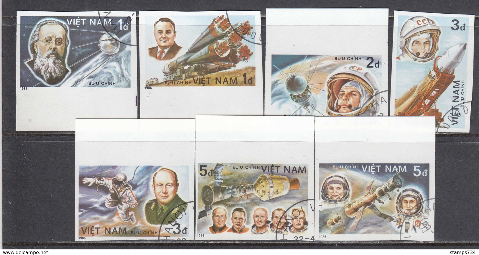 Vietnam 1986 - Space, Imperforated, Canceled - Vietnam