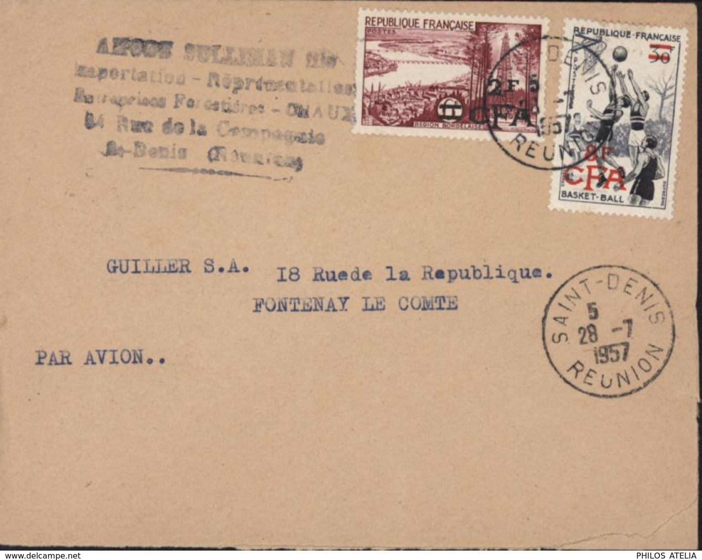 YT 321 + 326 CAD St Denis Réunion 28 7 1957 Par Avion Cachet Commercial - Lettres & Documents
