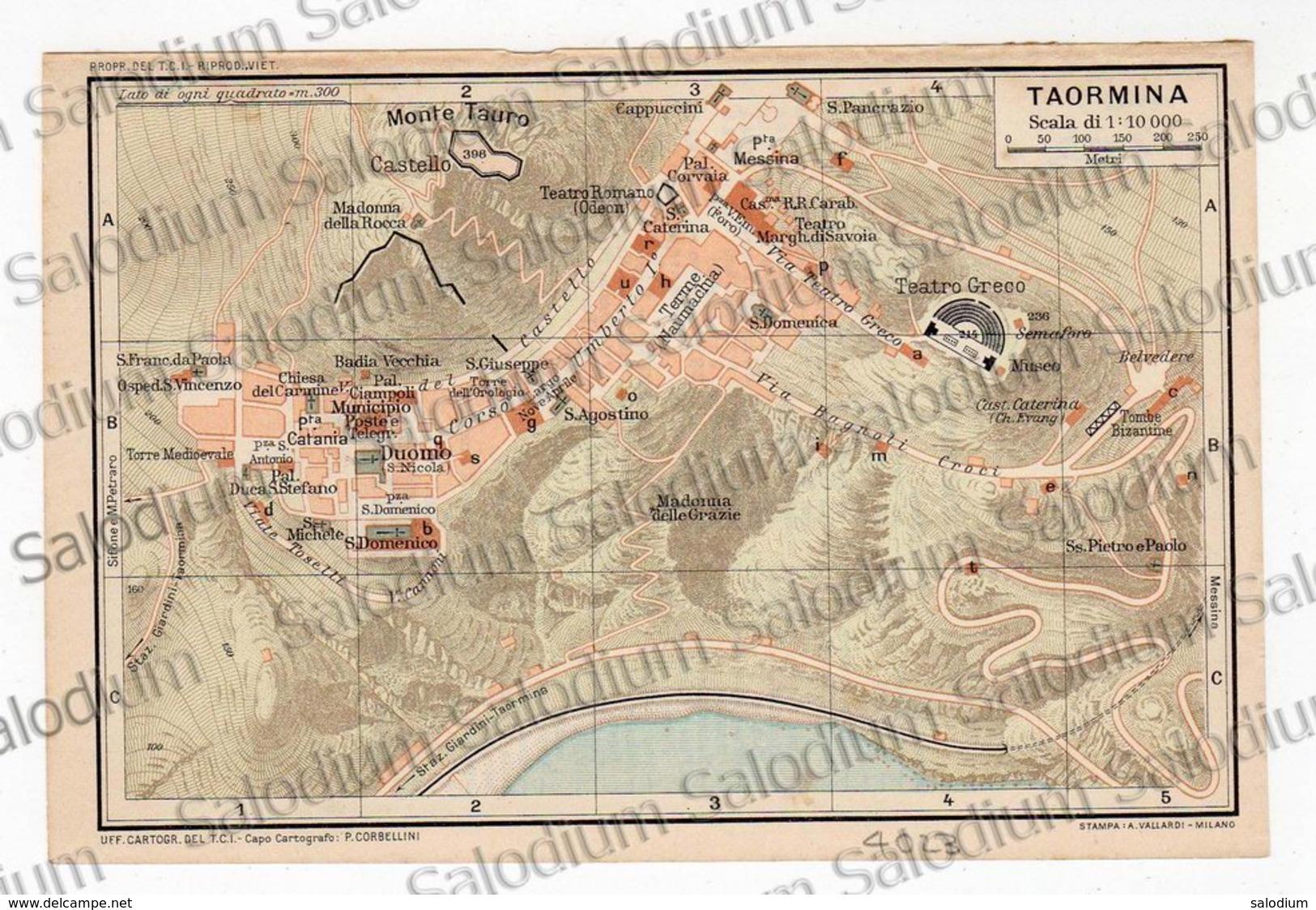 1910 - TAORMINA  - SICILIA  - Mappa Cartina - Mappe
