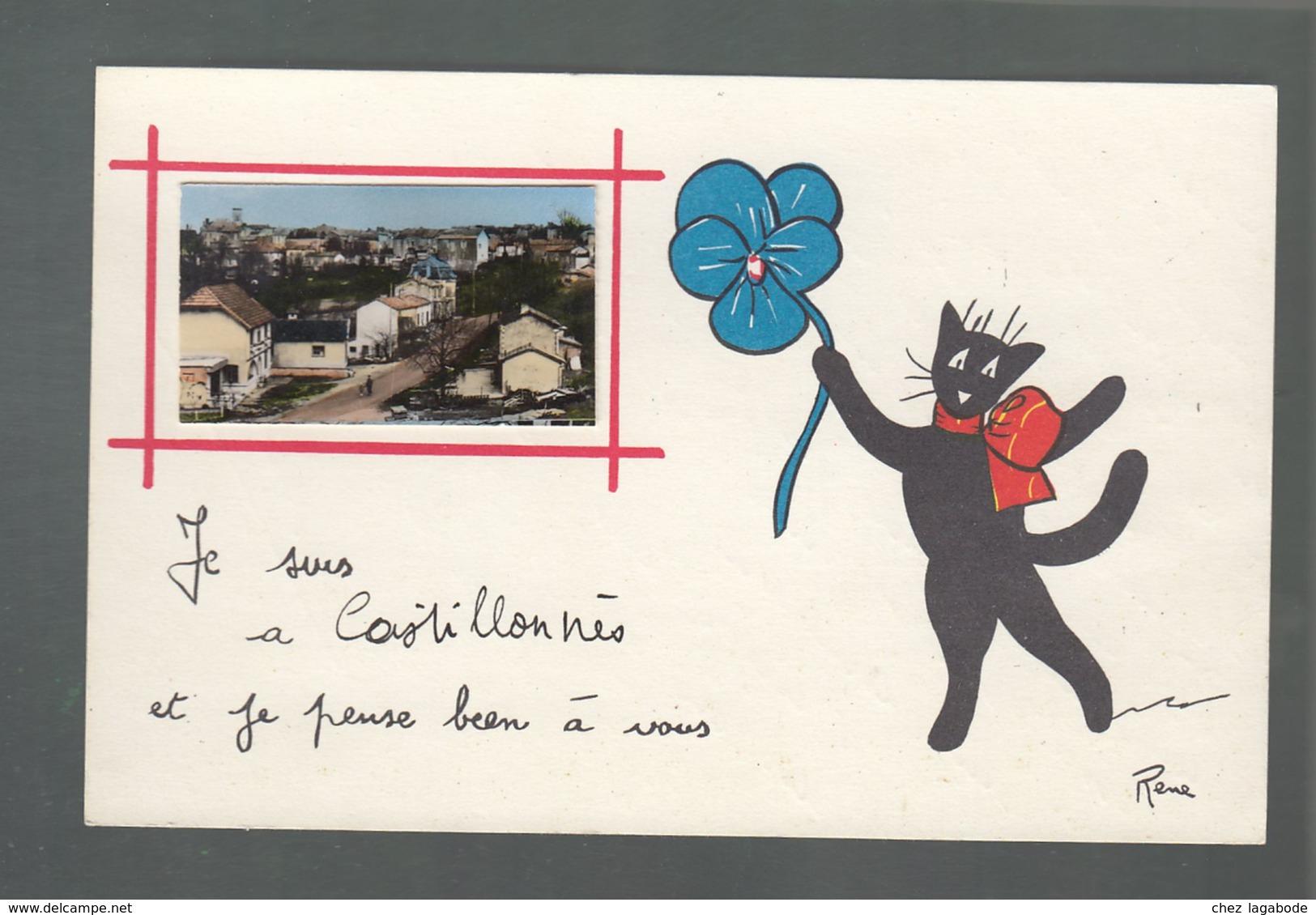 CP (47) Je Suis à Castillonnès Et Je Pense Bien à Vous - Petite Photo Collée Sur Une Carte Dessinée - Chat Noir - France