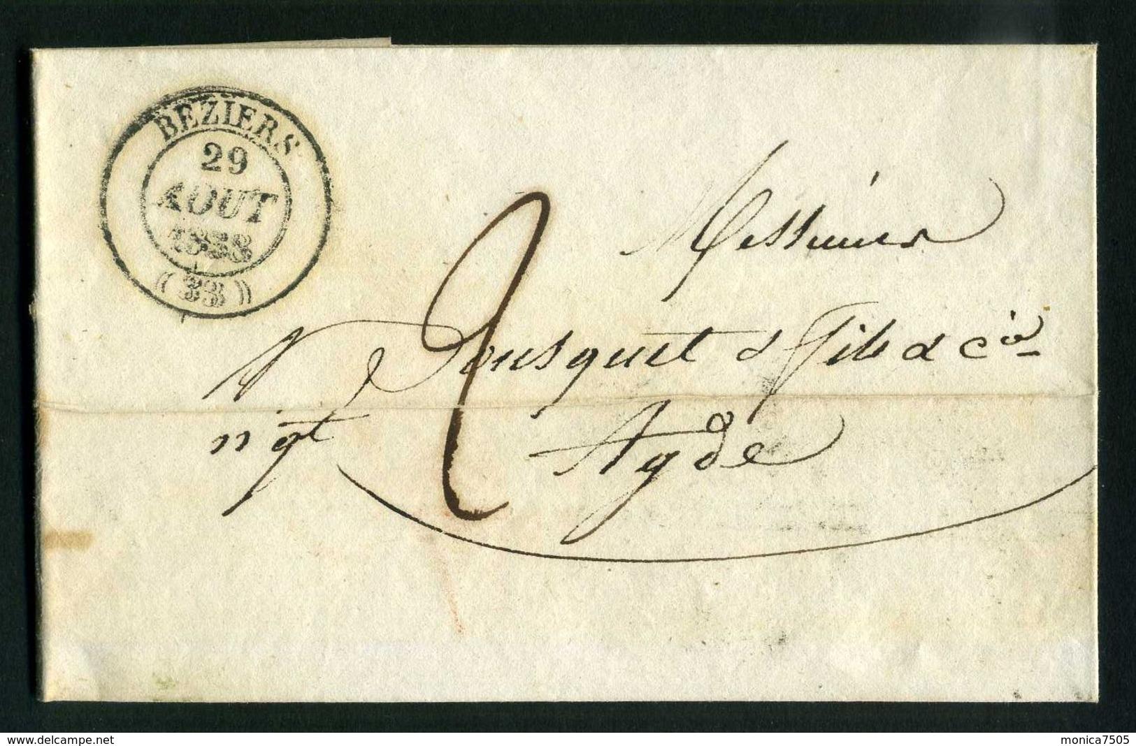 LETTRE  DE  BEZIERS  CAD  DU 29  AOUT  1838  POUR  ADGE . - 1801-1848: Précurseurs XIX