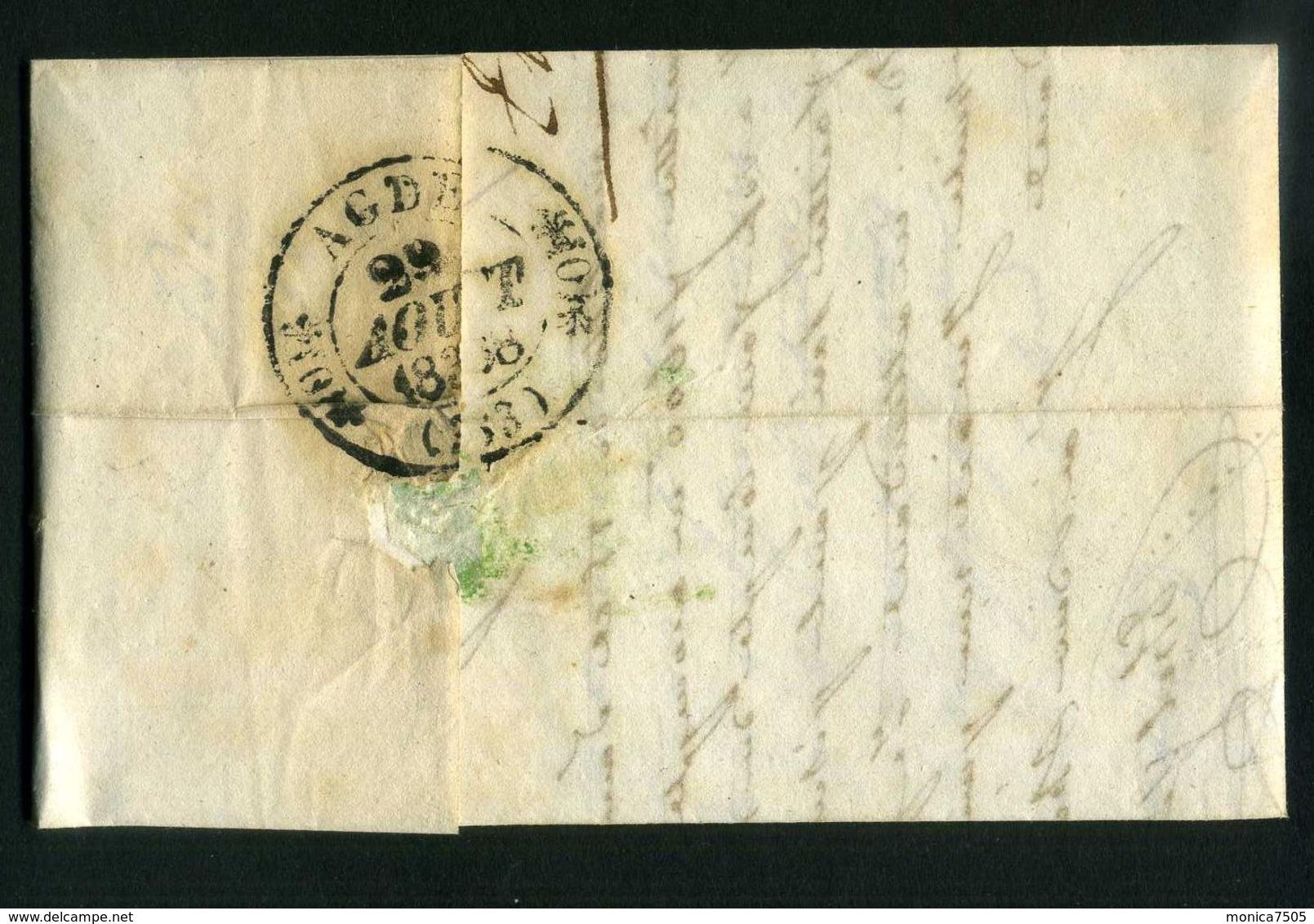LETTRE  DE  BEZIERS  CAD  DU 29  AOUT  1838  POUR  ADGE . - Marcophilie (Lettres)
