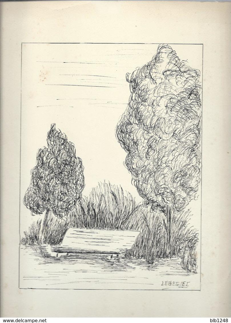 Art & Antiquités > Tableaux Le Banc Veritable Dessin Encre Original  De Bernard Le Beguec - Dessins