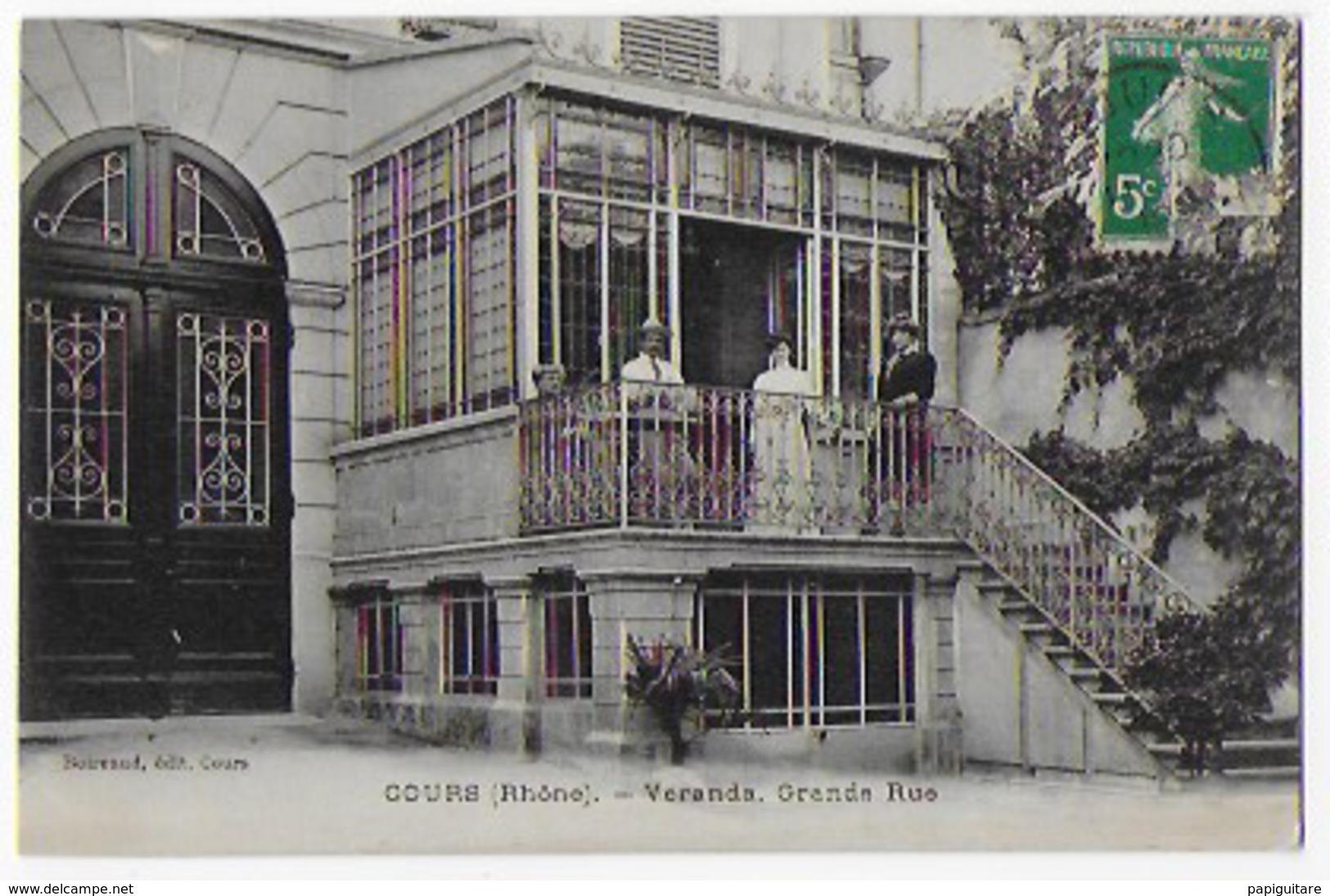 Cpa Bon Etat Cours , Véranda , Grande- Rue , Carte Rare , Timbre (arraché)  Courrier Verso - Cours-la-Ville