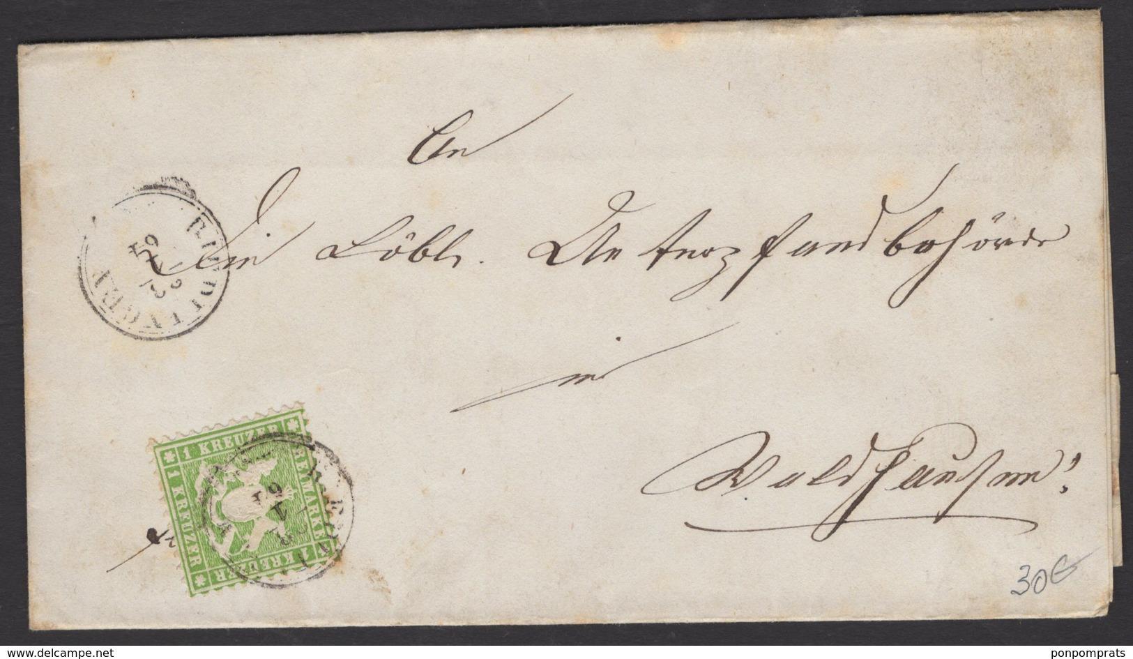 WURTEMBERG Pli Avec 1Kreuzer Vert Dentelé Oblt CàD De RIEDLINGEN 1864 > ??? - Wurtemberg