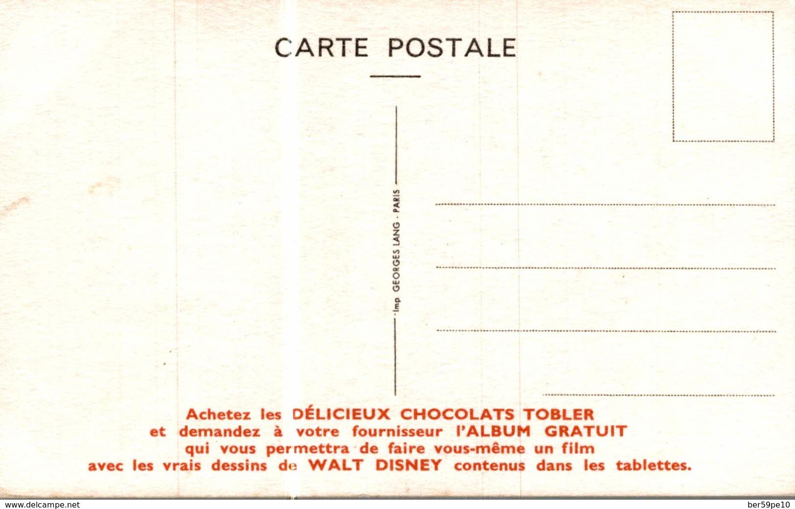 CARTE POSTALE PUBLICITAIRE CHOCOLATS TOBLER  WALT-DISNEY MOUCHE - Disney