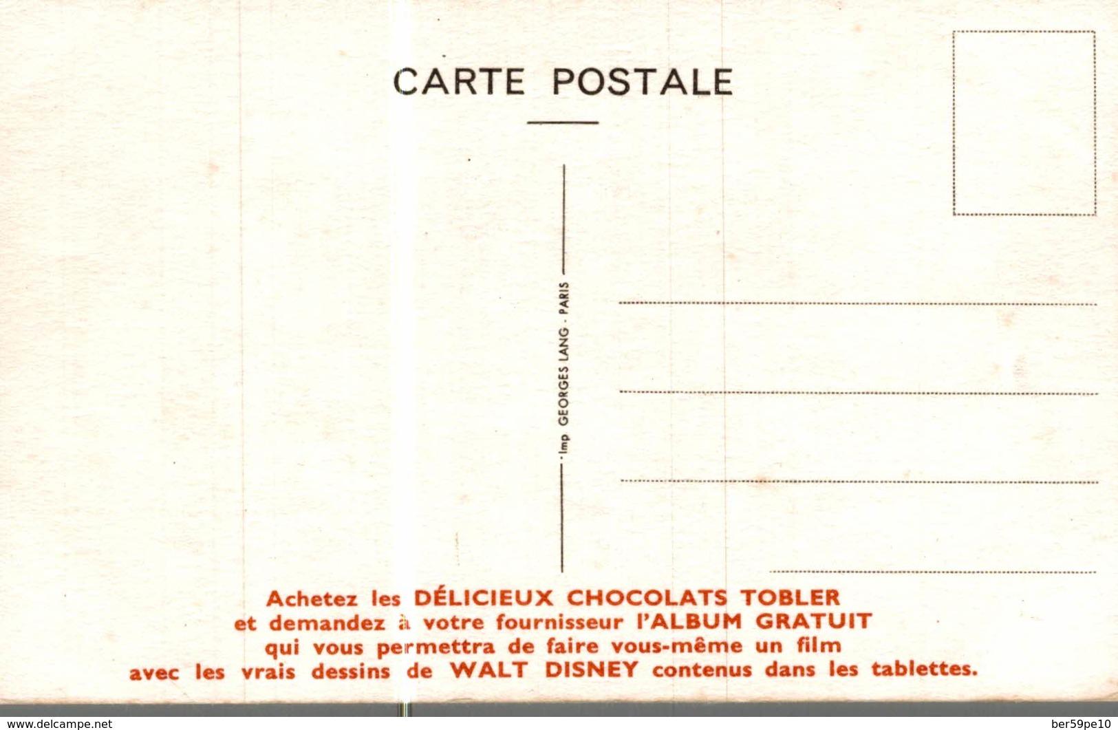 CARTE POSTALE PUBLICITAIRE CHOCOLATS TOBLER  WALT-DISNEY  FOXIE - Disney