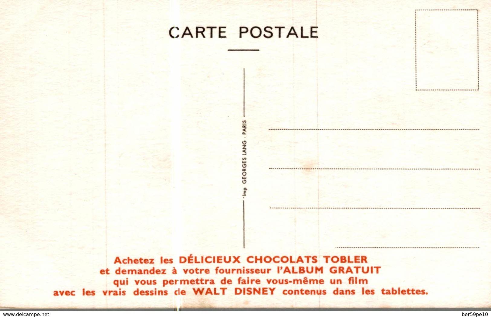 CARTE POSTALE PUBLICITAIRE CHOCOLATS TOBLER  WALT-DISNEY  LE CHAPELIER FOU - Disney