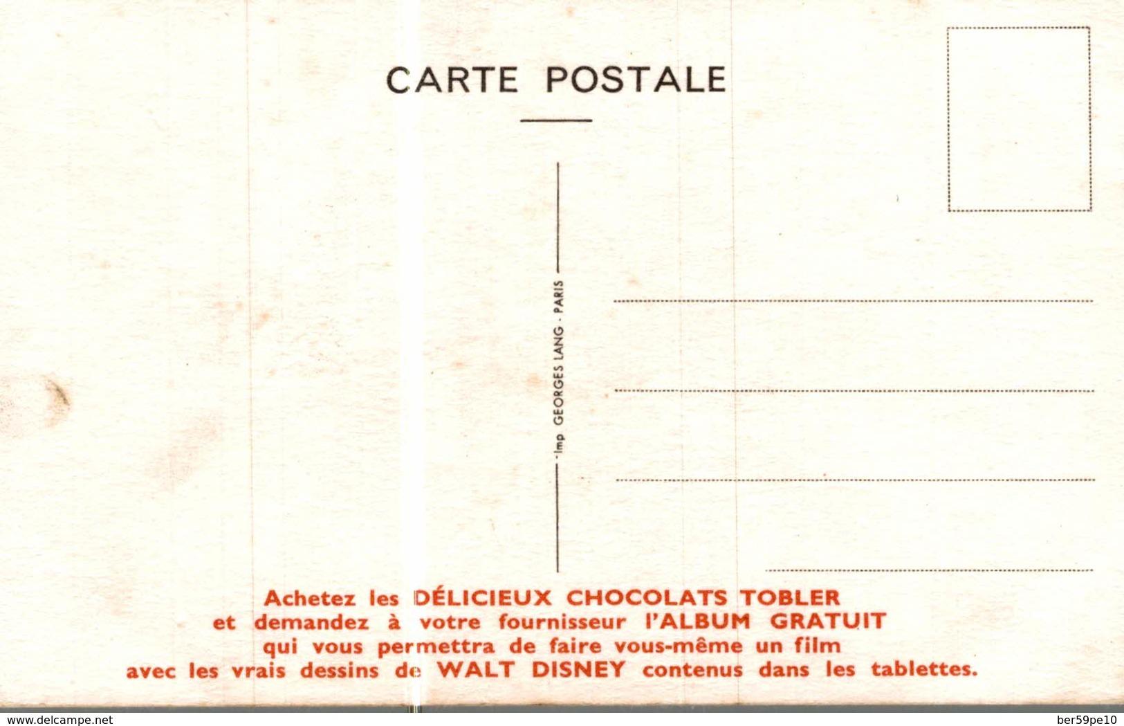 CARTE POSTALE PUBLICITAIRE CHOCOLATS TOBLER  WALT-DISNEY  CABIE - Autres