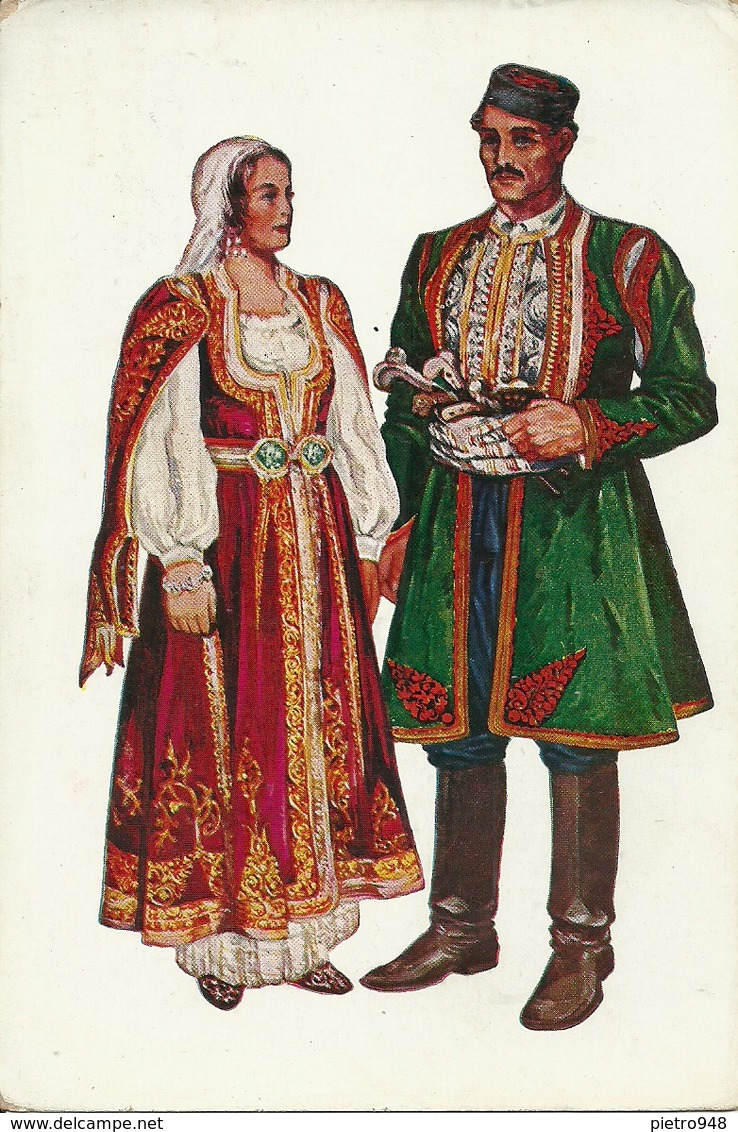 Costumi Nazionali, Dalmazia, Risan (Risano) (Montenegro) Vladimir Kirin Illustratore - Costumi