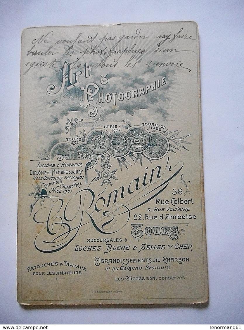 PHOTO GRAND CDV MILITAIRE SOLDAT 9 SUR LE COL Cabinet JEANNE ROMAIN  A TOURS - War, Military