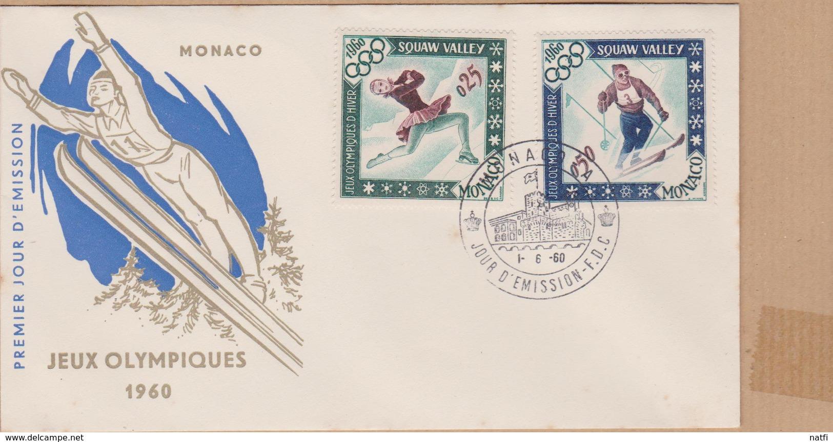 ENVELOPPE TIMBRE  MONACO 1960  JEUX OLYMPIQUES SQUAW VALLEY VOIR PHOTO - FDC