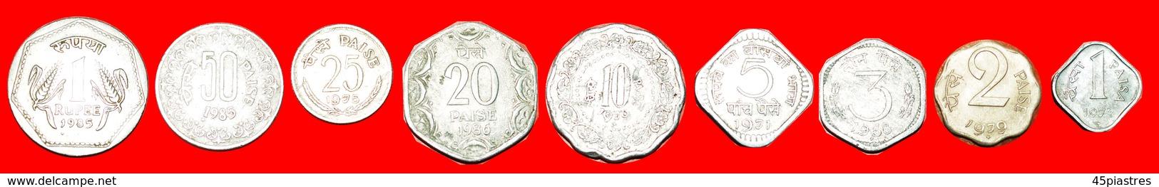 + SET 9 COINS: INDIA ★ 1-2-3-5-10-20-25-50 PAISE  - 1 RUPEE TYPE 1964-1991! LOW START ★ NO RESERVE! - Kilowaar - Munten