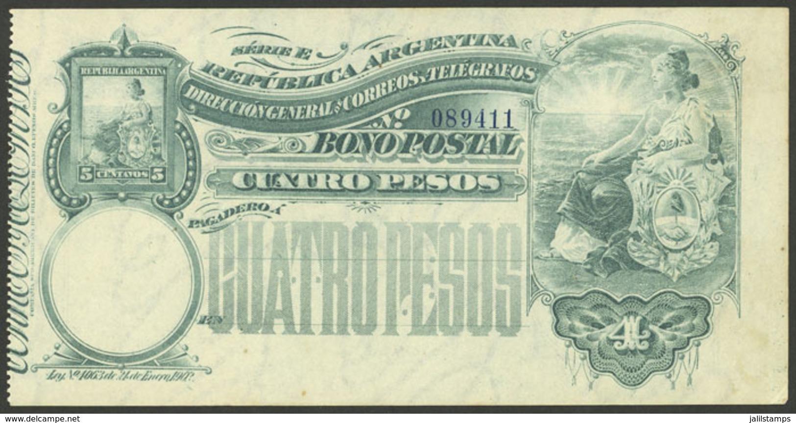 ARGENTINA: Postal Money Order GJ.BOP- 12, 1904 Seated Liberty 4P., Unused, Without Slip, VF Quality, Rare! - Postal Stationery