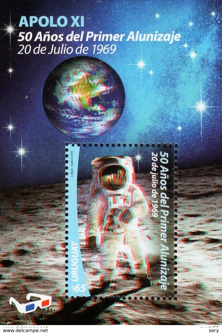 Uruguay  2019 SS 3-D MNH  50 Years Of First Moon Landing  Apollo XI  Space Espace - Südamerika