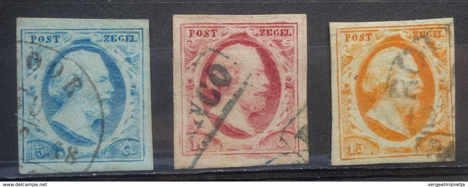 NEDERLAND  1852    Nr. 1 - 2 En 3    Ruim Gerand - Super    Gestempeld     CW  250,00 - Period 1852-1890 (Willem III)