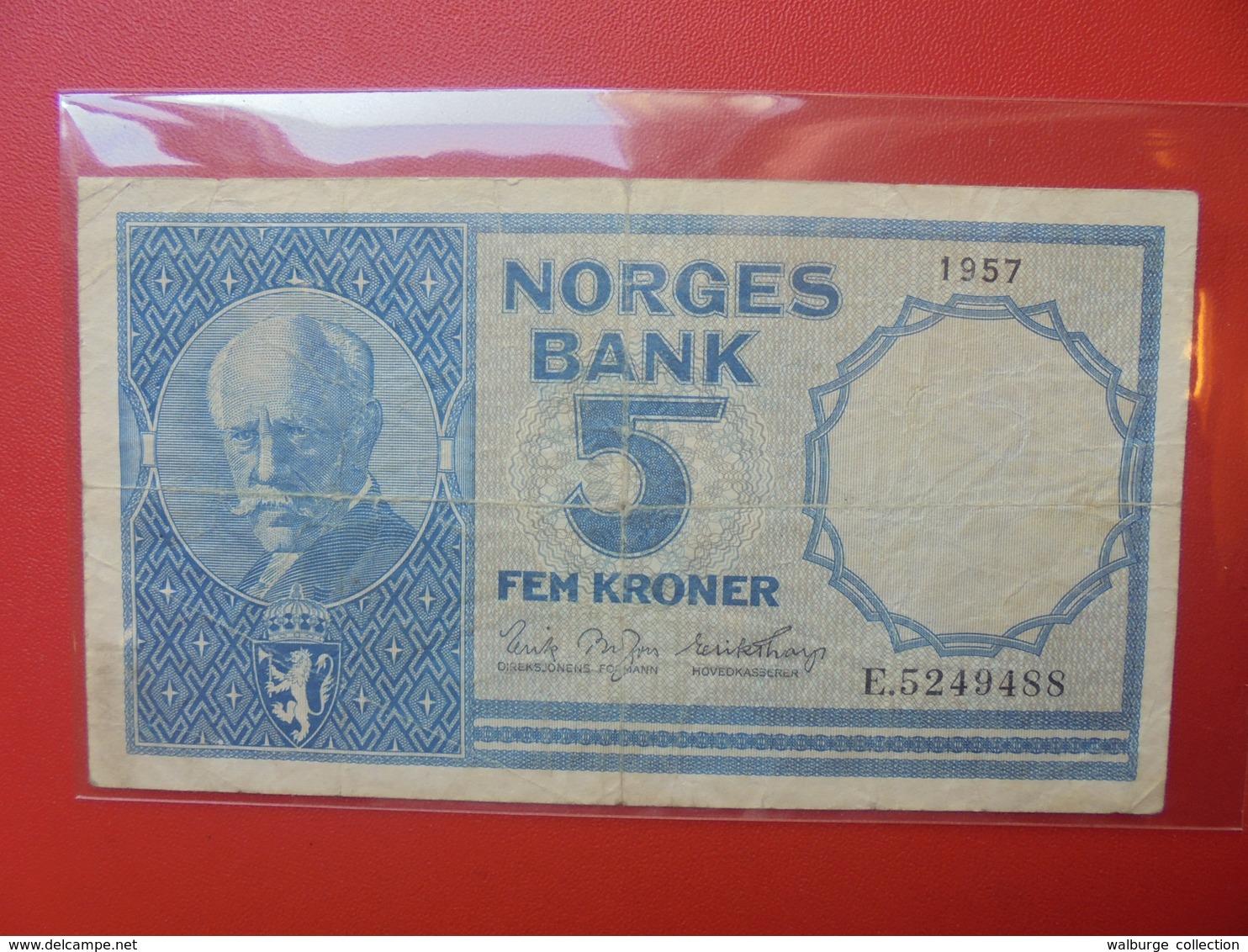 NORVEGE 5 KRONER 1957 CIRCULER (B.6) - Norvegia