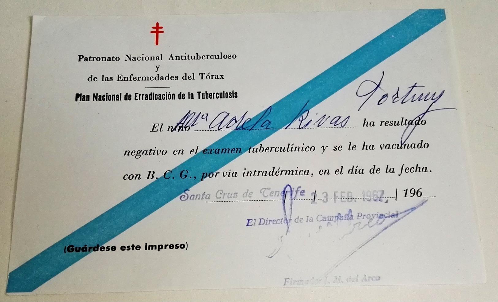 Test De Dépistage De La Tuberculose Sous Forme Négative - Plan National D'éradication De La Tuberculose, 1967 - Documentos Históricos