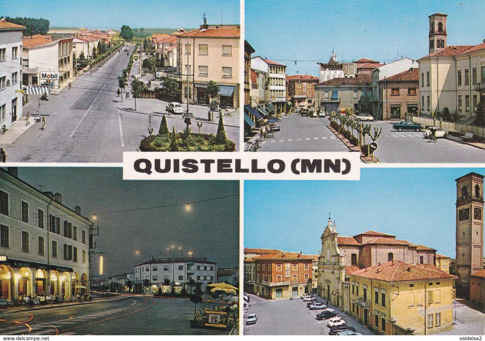 QUISTELLO - MANTOVA - 4 VEDUTE - DISTRIBUTORE BENZINA MOBIL - CHIESA - PIAZZA - ALBERGO - BAR - Mantova