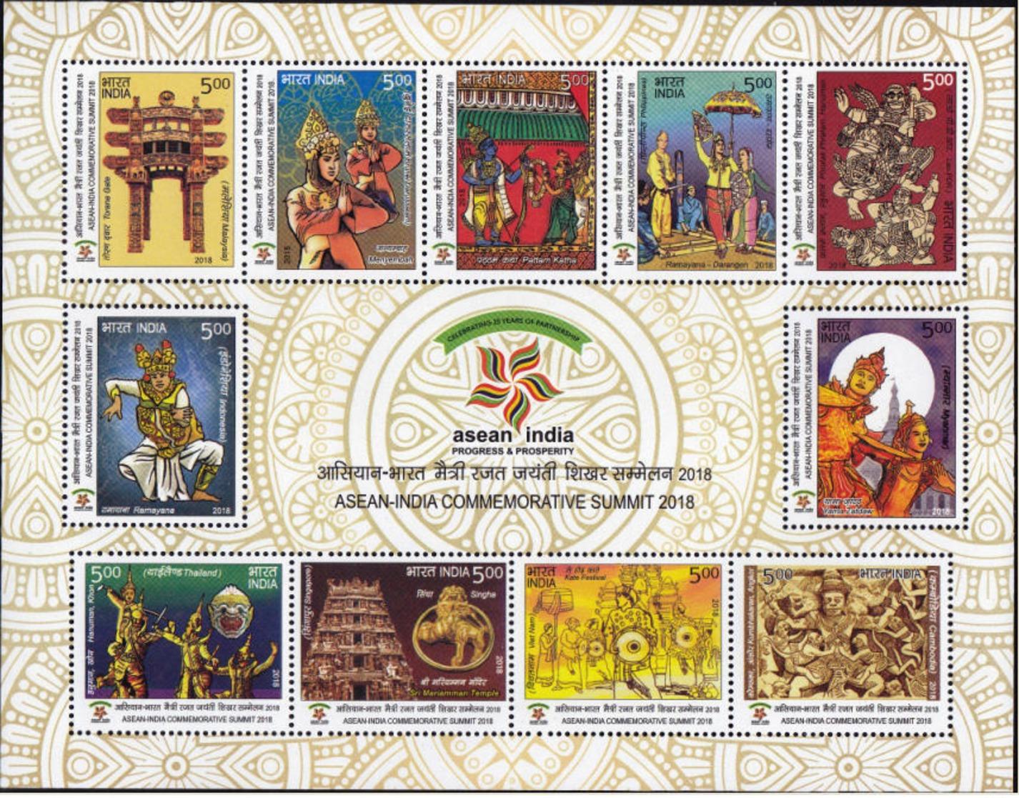 5X INDIA 2018 ASEAN India Commemorative Summit; Miniature Sheet, MINT - India