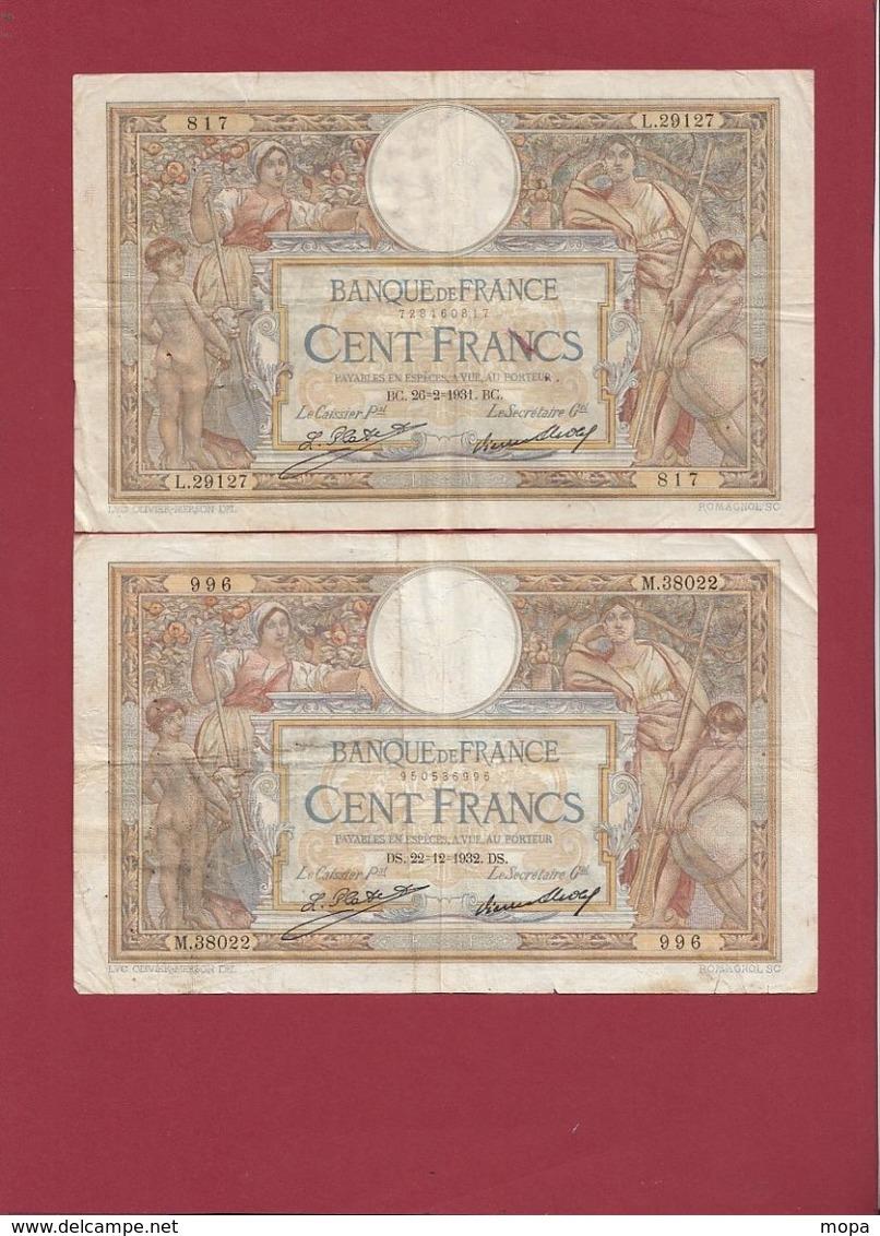 """100 Francs """"Luc Olivier Merson """"4 Billet -  26/02/31 - 22/12/32- 08/11/34-26/09/35 Qualité # Voir Scan Lot N °41 - 1871-1952 Anciens Francs Circulés Au XXème"""