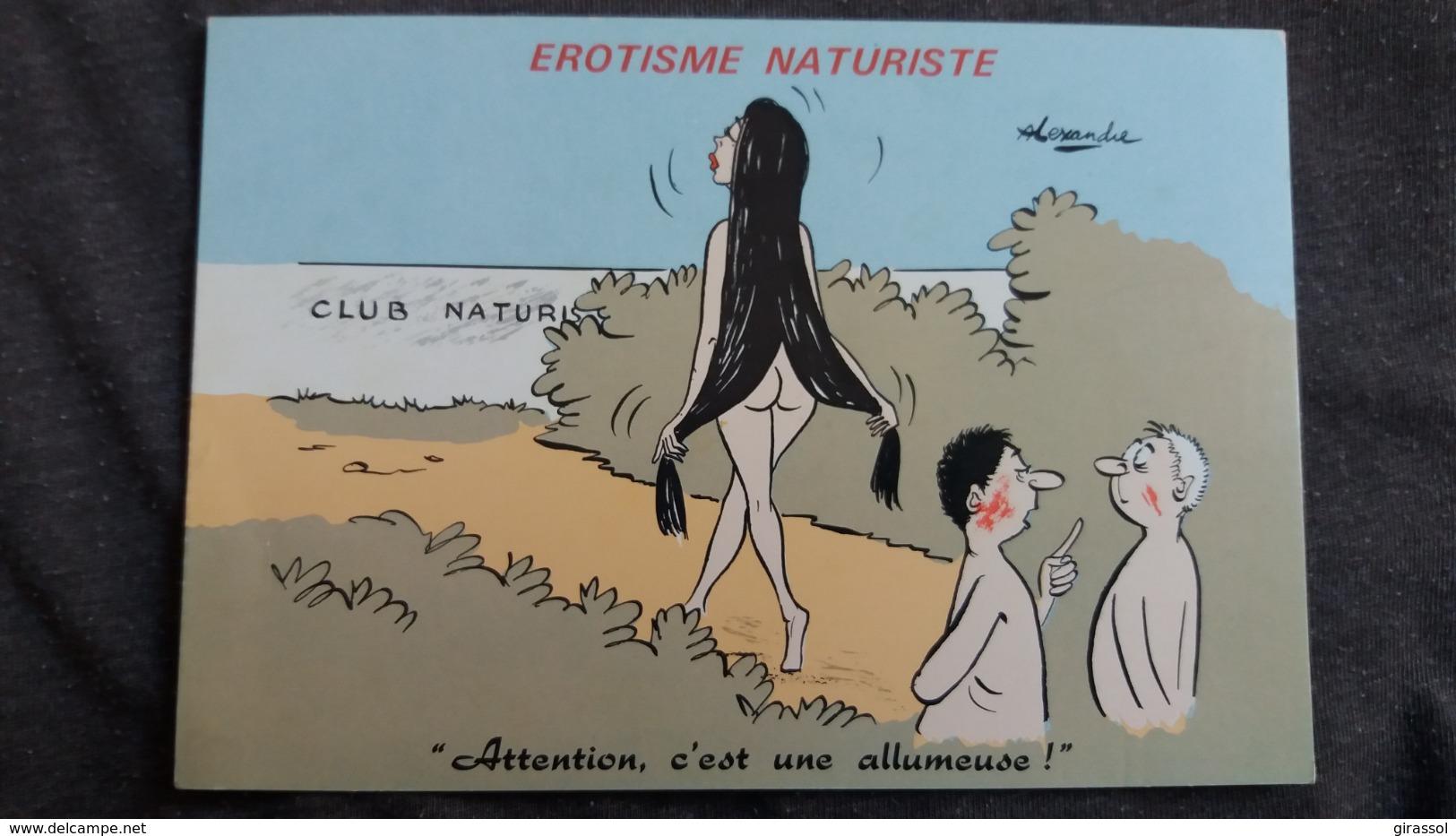 CPSM ILLUSTRATEUR ALEXANDRE EROTISME NATURISTE ATTENTION UNE ALLUMEUSE FEMME NUE HUMOUR - Alexandre