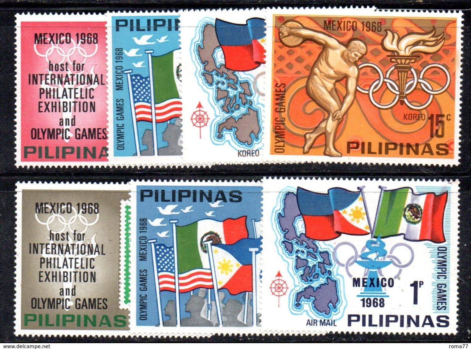 APR2431 - FILIPPINE 1968 , Yvert Serie N. 762/765 + Aerea ***  MNH (2380A) . MESSICO - Filippine