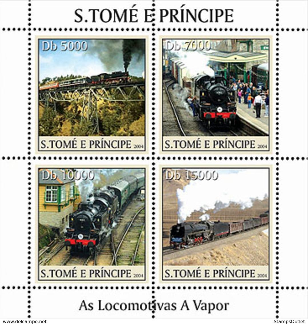 S. TOME & PRINCIPE 2004 - Locomotives 4v - YT 1958-1961,  Mi 2629-2632 - Sao Tome En Principe
