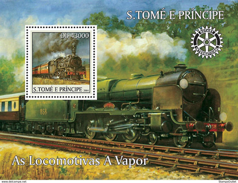 S. TOME & PRINCIPE 2004 - Locomotives, Rotary S/s - YT BF309,  Mi BL.514 - Sao Tome En Principe