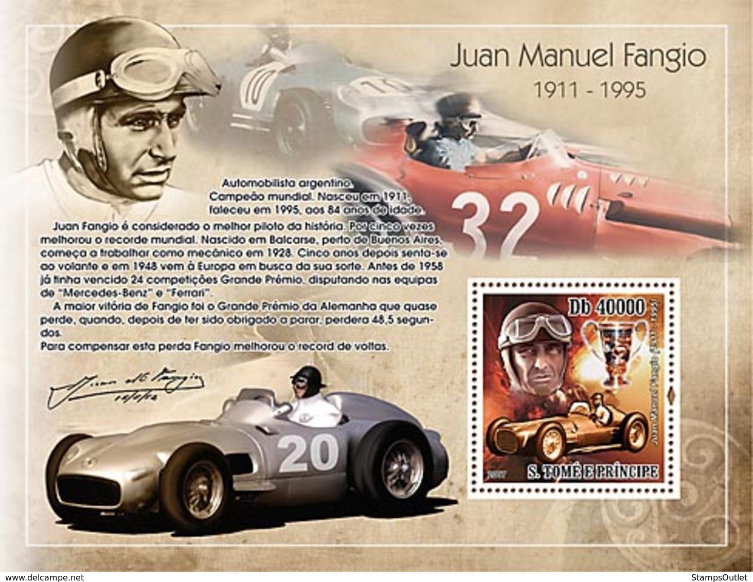 S. TOME & PRINCIPE 2007 - Car Racing - Juan Manuel Fangio S/s - YT 388, Mi 3174/BL617 - Sao Tome And Principe