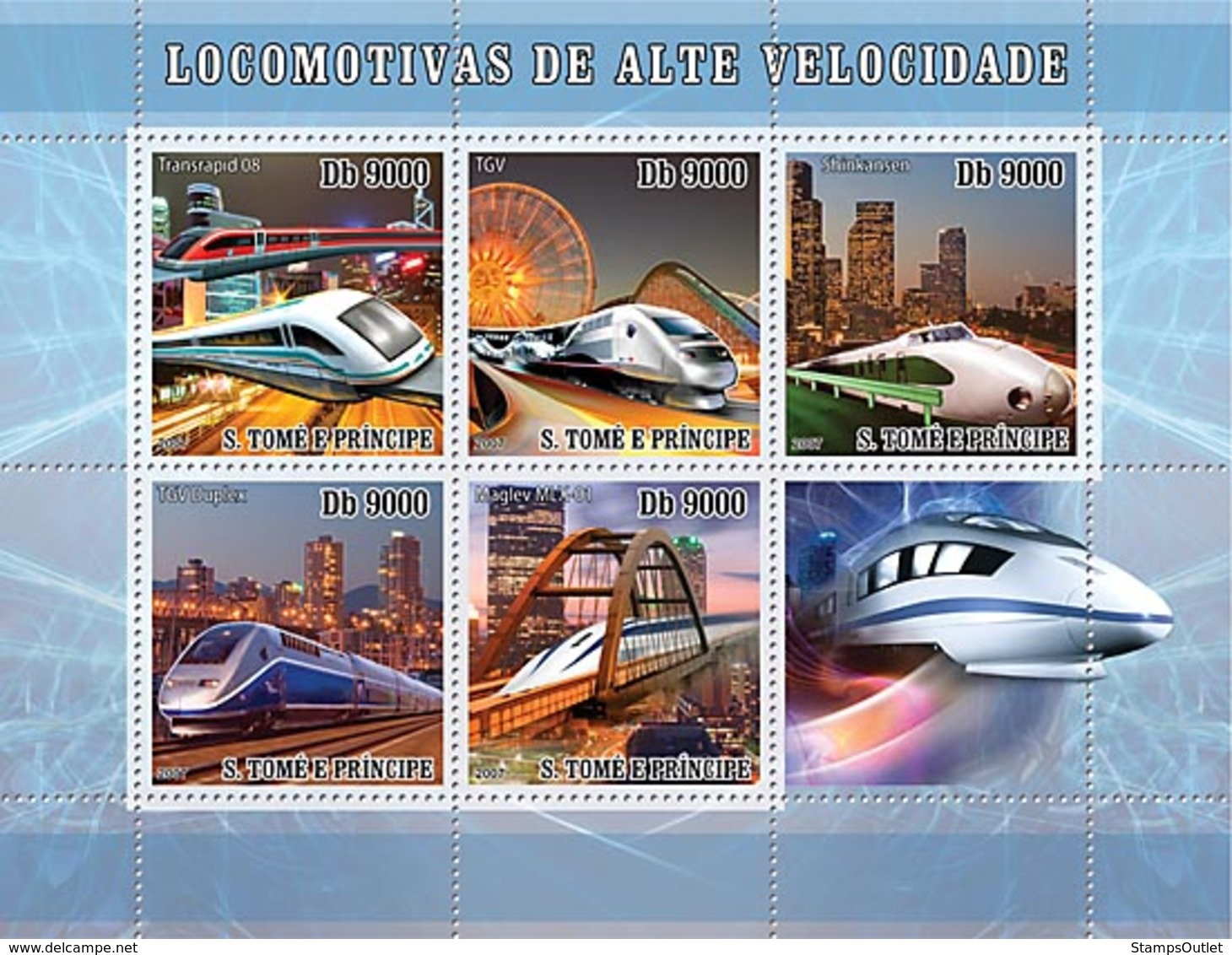 S. TOME & PRINCIPE 2007 - Speed Trains 5v - YT 2366-2370, Mi 3181-3185 - Sao Tome And Principe