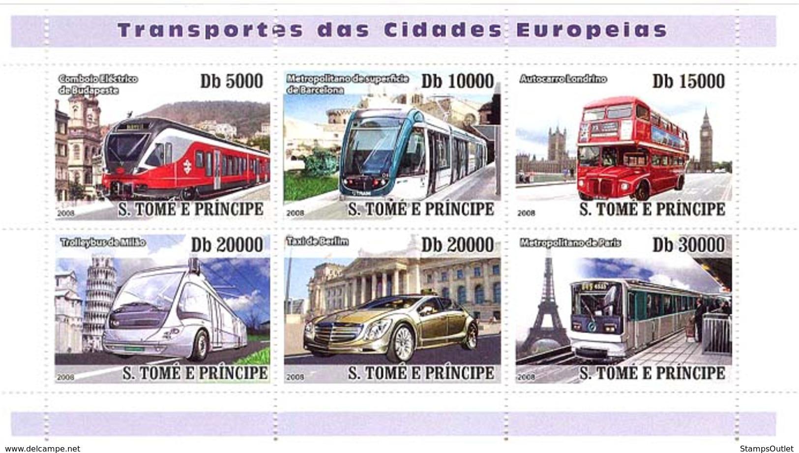 S. TOME & PRINCIPE 2008 - European City Transports (trains, Bus, Auto Taxi) 6v - YT 2722-2727, Mi 3524-3529 - Sao Tome En Principe