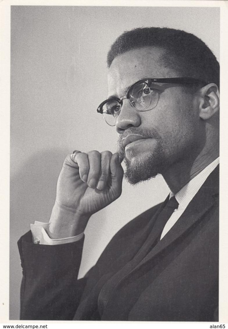 Malcolm X, Malcolm Little, Al Hajj Malik Shabazz, 1960s Famous Black American Leader C1980s/90s Vintage Postcard - Beroemde Personen