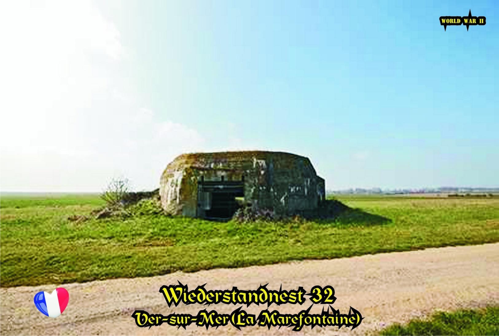 Set 4 Cartes Postales, WW II, Atlantique Mur, France, Ver-sur-Mer (La Marefontaine), Wiederstandnest  32 - Guerre 1939-45