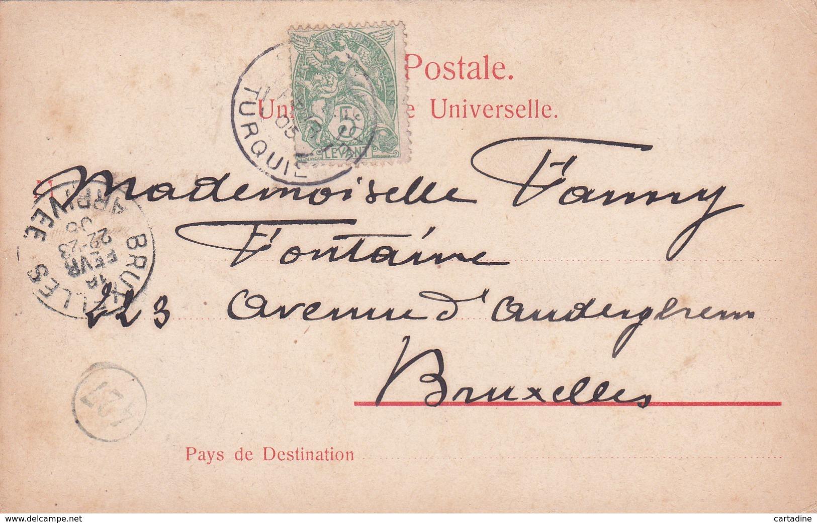 Grèce - Souvenir De Salonique - La Place De L'Olympe - Timbre Du Levant France - 1905 - Grèce