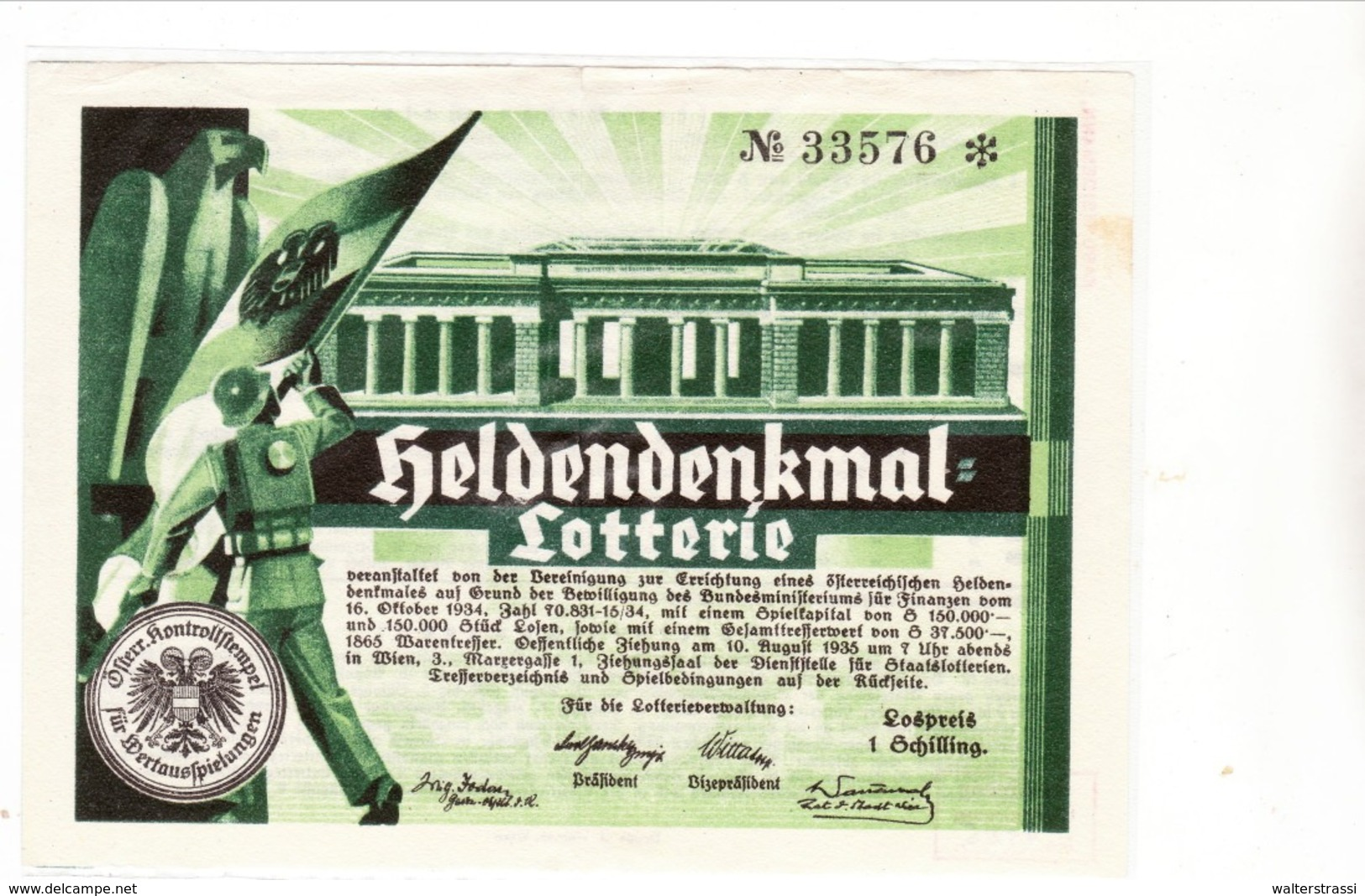 Österreich 1934, Heldendenkmal - Lotterie - Briefe U. Dokumente