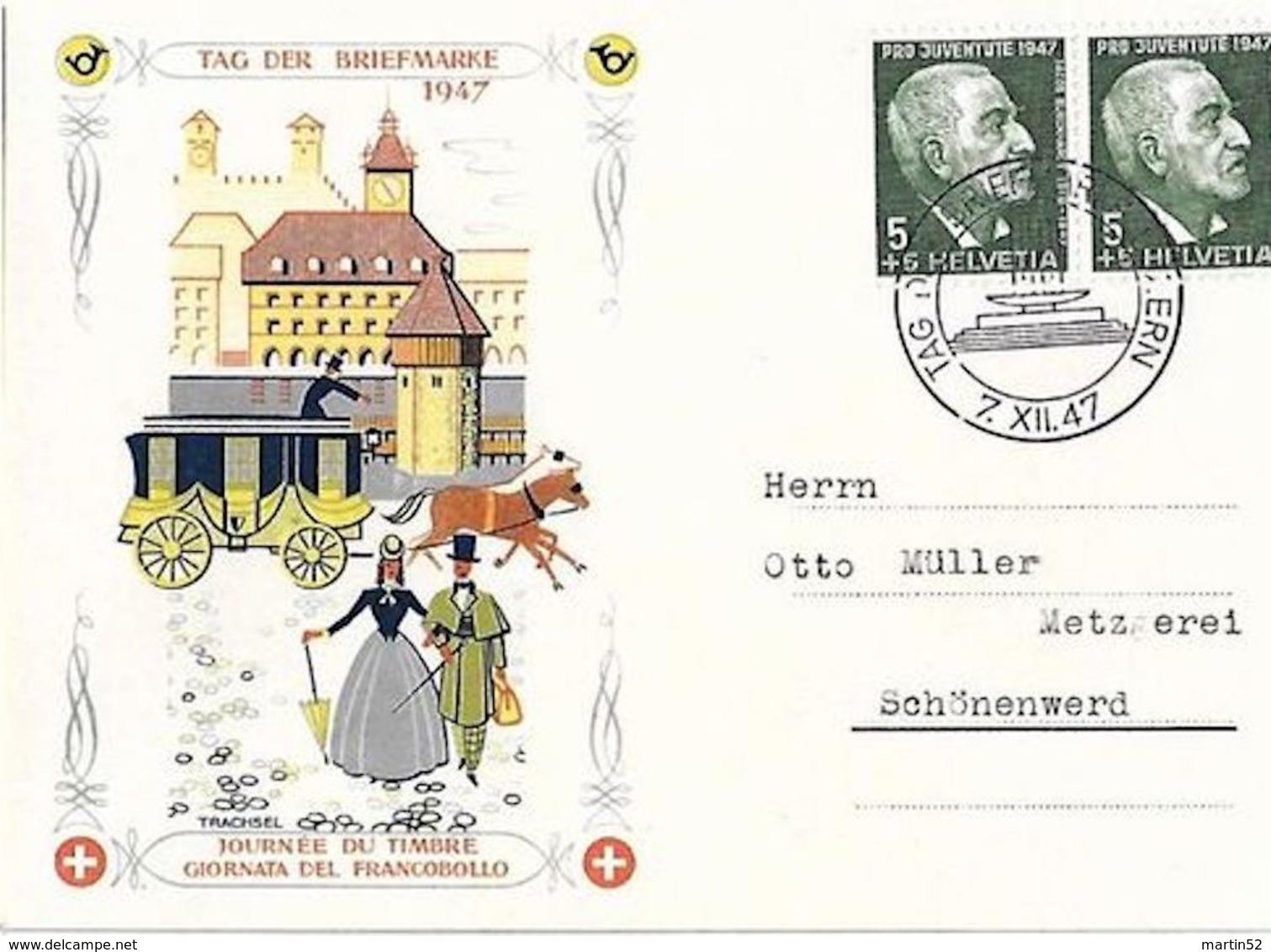 Schweiz Suisse 1947: Pro Juventute Zu 121 Mi 488 Yv 445 Bild-PK O TAG DER BRIEFMARKE 7.XII.47 LUZERN (Zu CHF 15.00) - Tag Der Briefmarke