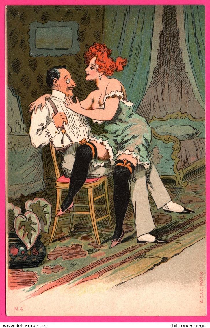 Cp Fantaisie - Erotique - Curiosa - Homme D'Affaires - Femme Nue - Prostituée - Humour - Animée - Edit. A.C. Et C. - Humour