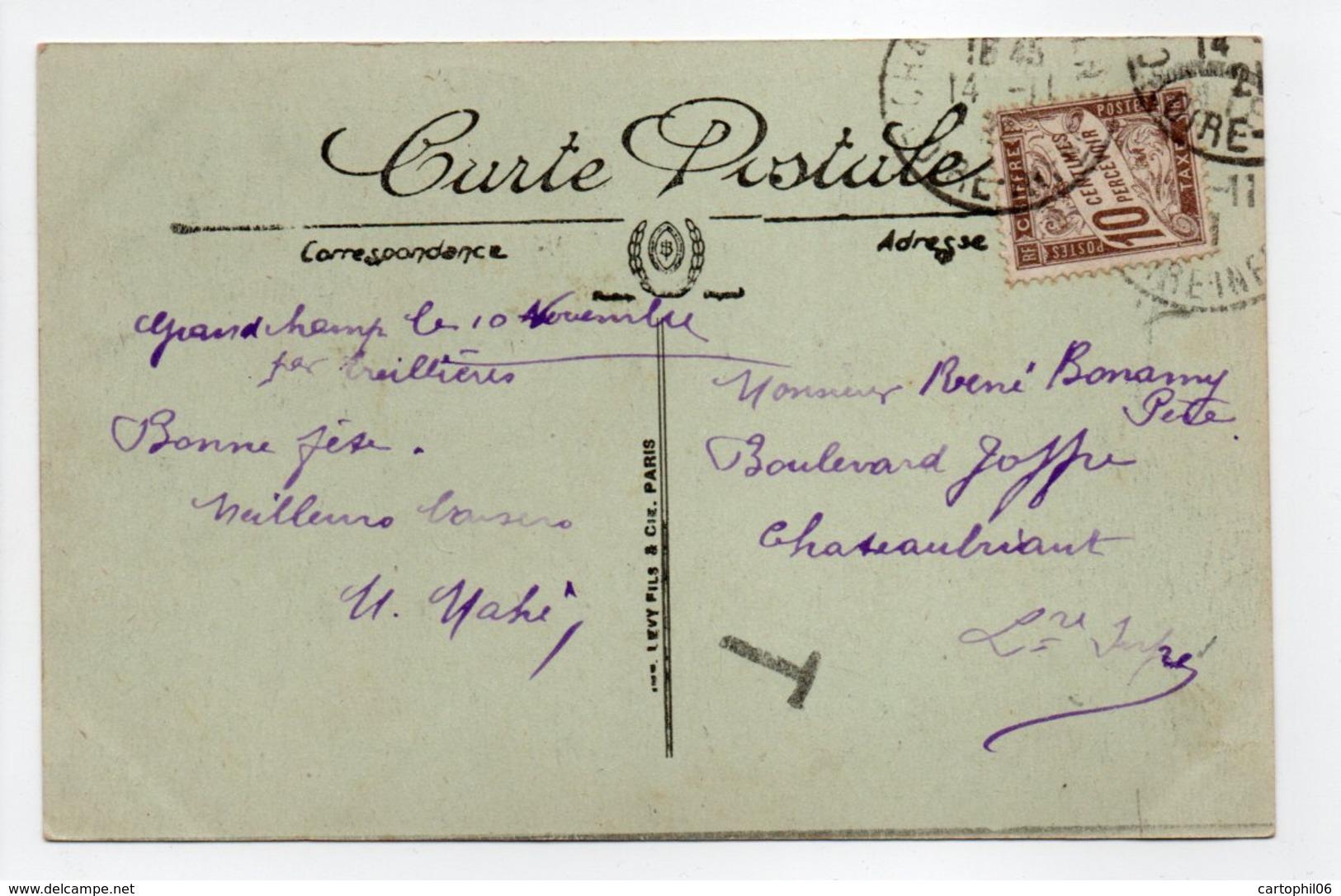 - Carte Postale TREILLIÈRES Pour CHÂTEAUBRIANT (Loire-Atlantique) 12.11.1921 - TAXÉE 10 C. Brun Type Duval - A ETUDIER - - Segnatasse