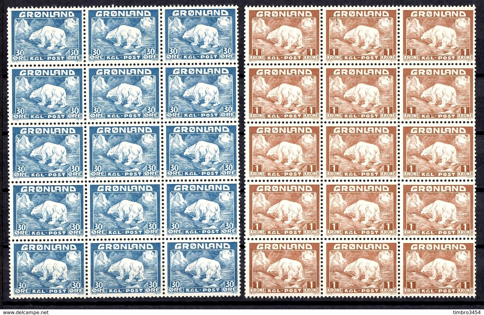 Groenland YT N° 7 Et N° 9 En Blocs De 15 Timbres Neufs ** MNH. TB. A Saisir! - Neufs