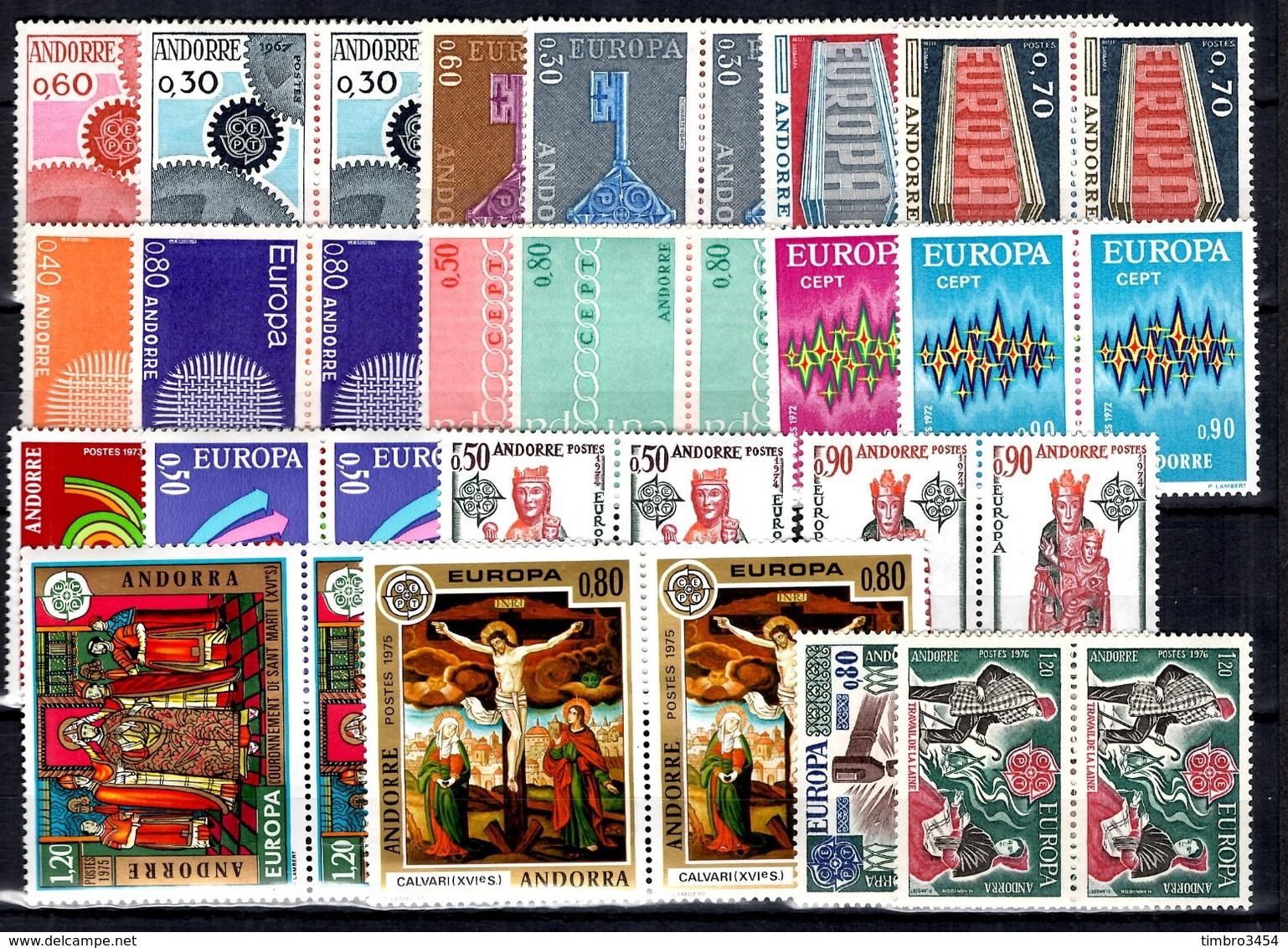 Andorre Séries Europa Complètes 1967/1976 En Paires Neufs ** MNH. TB. A Saisir! - Neufs