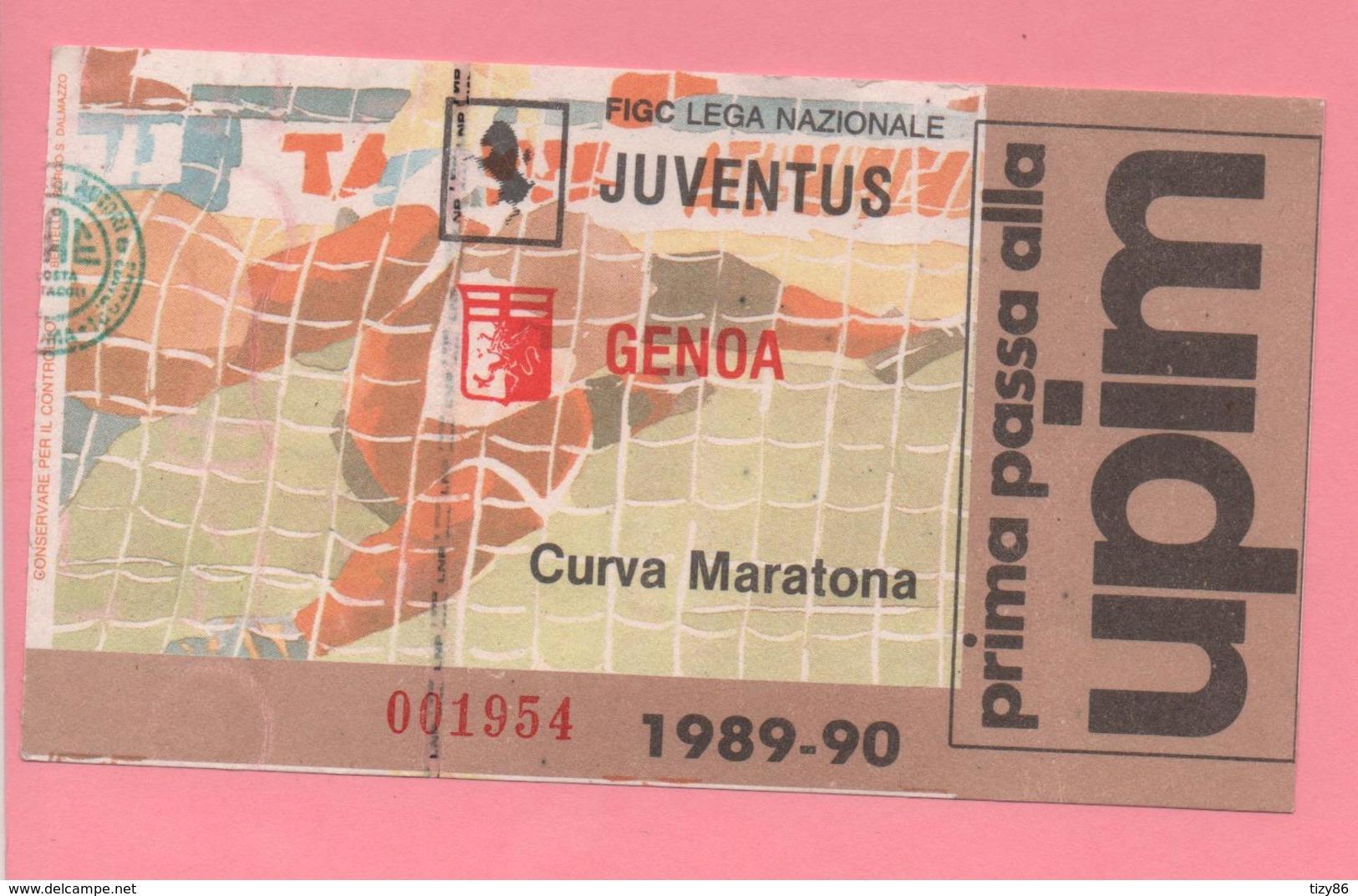 Biglietto D'ingresso Stadio Torino Juventus Genoa 1989/90 - Tickets D'entrée