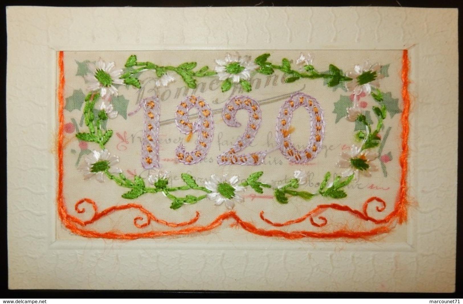 FANTAISIE CPA BRODÉE SOIE 1920 NOUVEL AN - Neujahr