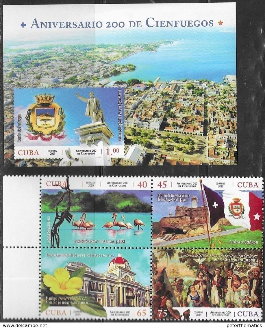 CITIES, 2019, MNH, CITY VIEWS, BIRDS, FLAMINGOES, FORTS, FLORA. ARCHITECTURE,4v+S/SHEET - Flamingo